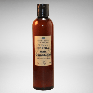 brown bottle of herbal hair conditioner