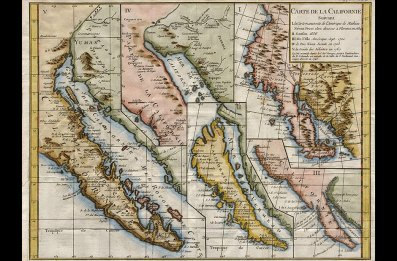 This 19th-century chart of the California Peninsula, drawn well after the controversy, shows the actual contour of California.