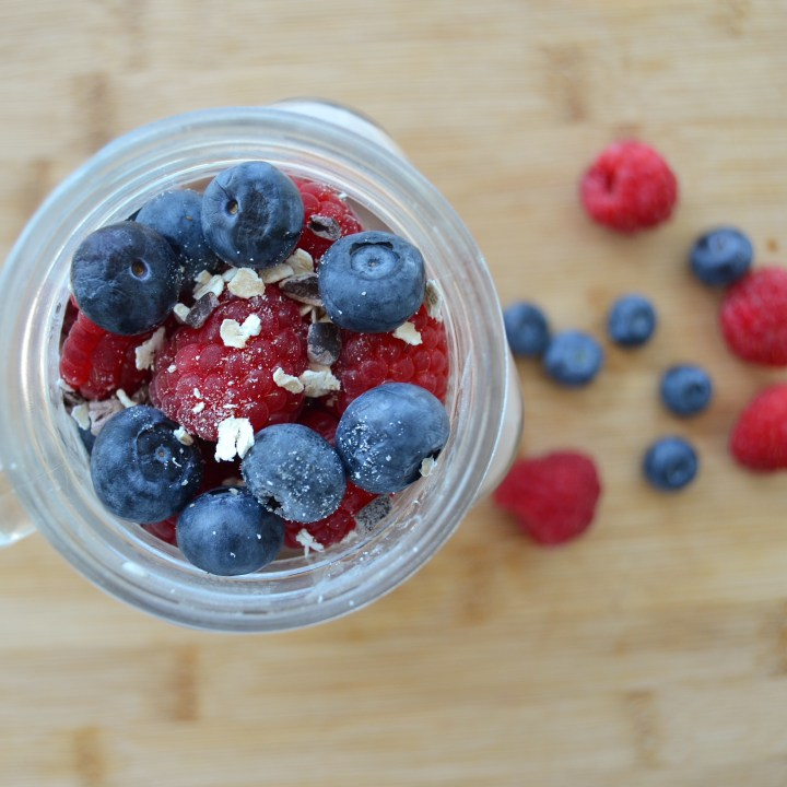 Berry & Cacao Almond Milk Overnight Oats