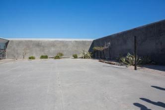 Prison courtyard.