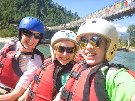 Tim, Tyler, Kara Rafting Bhutan