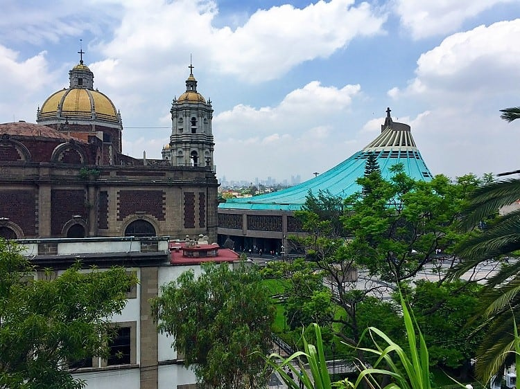 mexico city travel guide: grounds outside the catholic church with our lady of guadalupe's painting