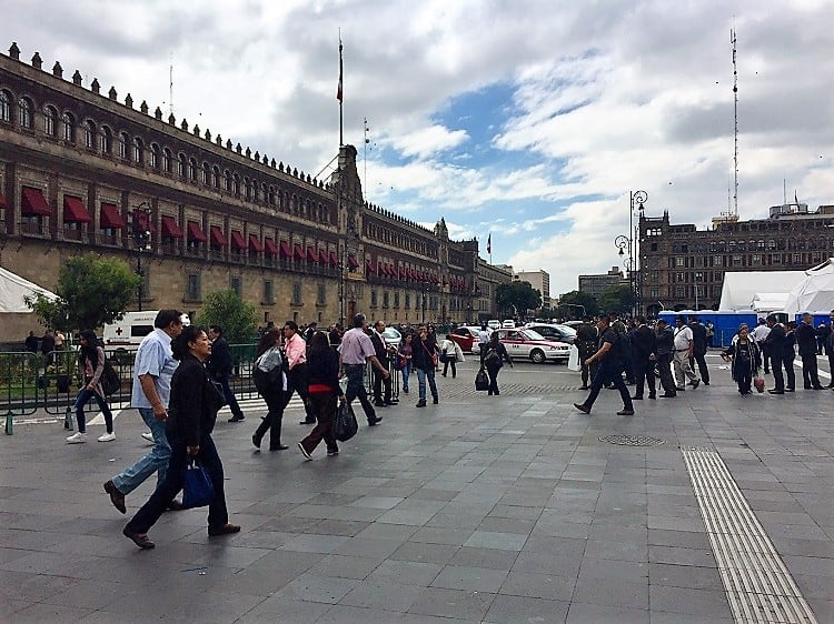 mexico city travel guide: view of the national palace from the zocalo