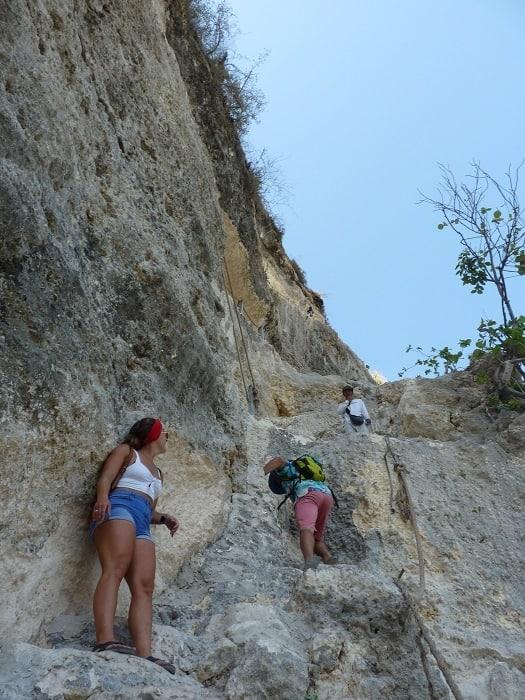 stairs up at atuh beach on nusa penida
