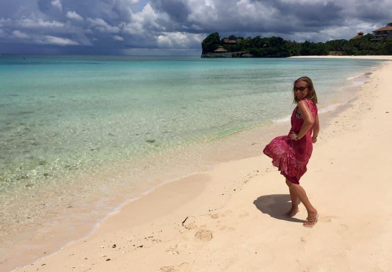 Ellen on Punta Bunga Beach in front of the deserted Shangri La resort in September 2020.