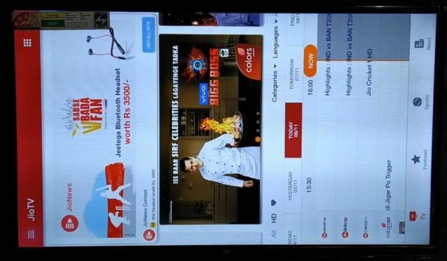 Jio TV side loaded on Mi Android TV