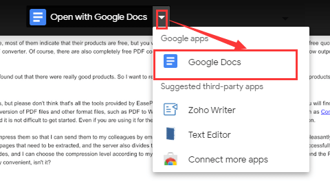 Google Drive Open with Google Docs