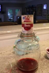 Pickle jar and beet juice