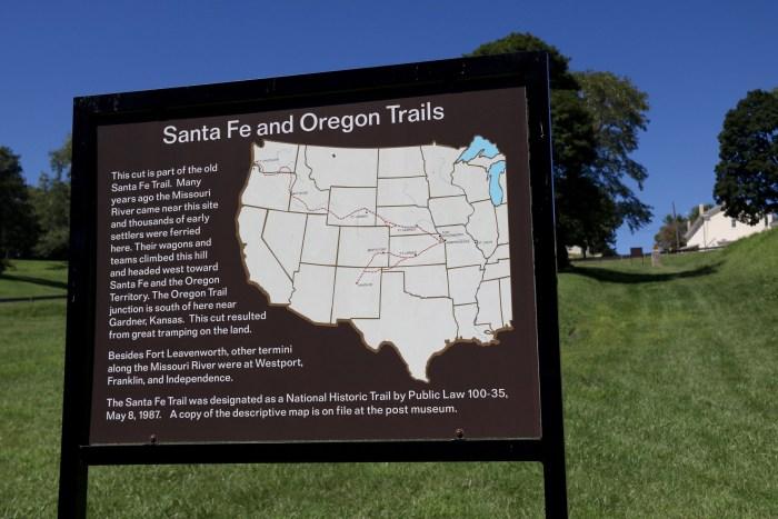 Santa Fe trail marker, Ft. Leavenworth, KS