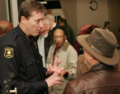 Berkeley Police Chief Michael Meehan speaks to residents at Northbrae Community Church on Thursday, March 8, 2012 about the police response to the Feb. 18 beating death of 67 year-old Peter Cukor at his Berkeley hills home. (Doug Oakley/Staff)