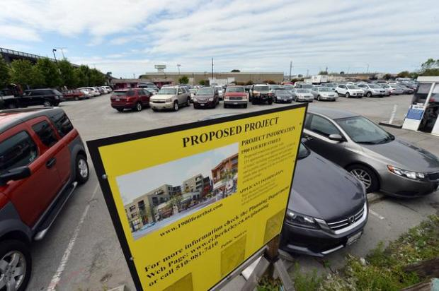 A parking lot where a development has been proposed is seen across the street from Spenger's Fish Grotto seafood restaurant in Berkeley, Calif., on Tuesday, April 12, 2016. (Kristopher Skinner/Bay Area News Group)