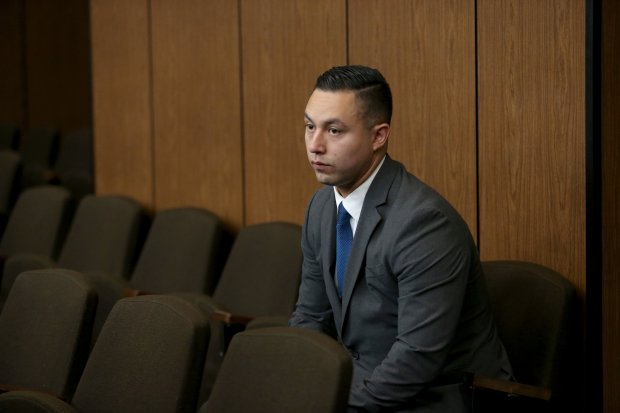 Contra Costa Sheriff's deputy Ricardo Perez waits for an arraignment hearing to begin in court at the Hayward Hall of Justice in Hayward, Calif., on Friday, Sept. 30, 2016. Perez pleaded not guilty to felony charges related to alleged sexual misconduct. (Anda Chu/Bay Area News Group)