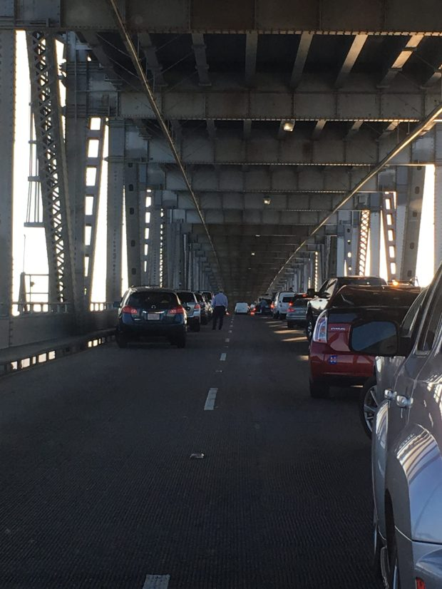 Traffic was halted after a big-rig truck caught fire on the Richmond-San Rafael Bridge during Tuesday's morning commute. (Photo by Moh Palizi)