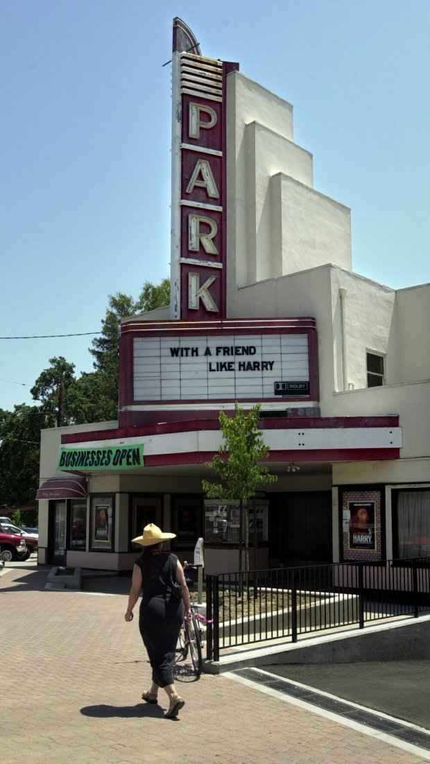 The art-deco facade of the Park Theater, photographed May 16, 2001, stands out like a beacon in downtown Lafayette, Calif. (CONTRA COSTA TIMES/BOB PEPPING)