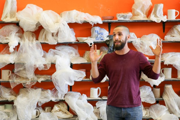 Jake Rodenkirk, the ceramics teacher at Washington High School in Fremont, speaks to one of his afternoon classes on Tuesday, Oct. 4, 2016. (Photo by: Joseph Geha/The Argus)