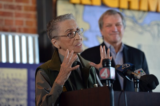 Congressman Mark DeSaulnier (CA-11) listens as Betty Reid Soskin speaks during a ceremony recognizing Soskin's lifetime of achievements at the Rosie the Riveter/WWII Home Front National Historic Park in Richmond, Calif., on Friday, Oct. 7, 2016. (Kristopher Skinner/Bay Area News Group)