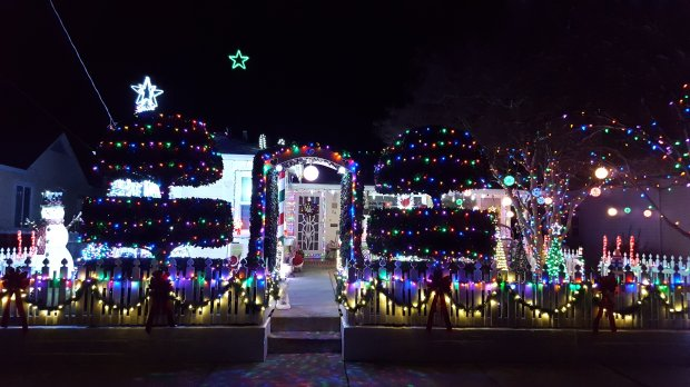 Betsy and Even Kohler have created a synchronized light display of morethan 148 channels. Thee display also features two nine-foot and two seven-foot candy canes containing 3,200 programmed lights, all creating a beautiful animated light show. Courtesy Betsy Kohler