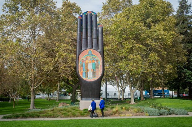 """While enjoying the holiday scenery this season, look for the """"Hand of Peace"""" sculpture by Beniamino Bufano, one of 30 public art installations in Walnut Creek."""