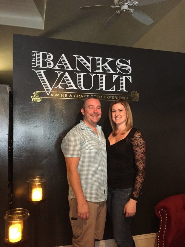 courtesy of Joe Banks and Kaitlyn ApoianJoe Banks and Kaitlyn Apoian appear at The Banks Vault, a wine and craft brew pub that the couple have recently opened in downtown Livermore.