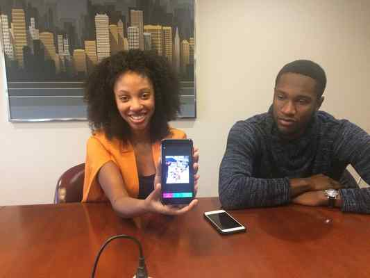 Chynna Morgan and her brother Hosea discuss the new iPhone app Chynna developed, and launched last month, that allows users to add their voice, music or other sound to until-now silent videos, and send them as messages. (RACHEL RASKIN-ZRIHEN — TIMES-HERALD)