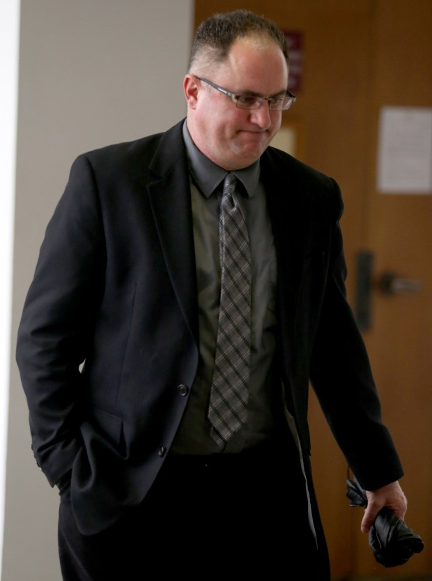 Former Livermore police officer Daniel Black, 49, arrives at the Wiley W. Manuel courthouse in Oakland, Calif., on Wednesday, Feb. 8, 2017. Black is charged with allegedly having sex with a teenage prostitute at center of a police sex scandal. (Anda Chu/Bay Area News Group)