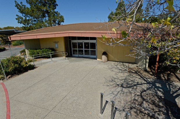 The front entrance of the Pleasant Hill Library photographed in Pleasant Hill, Calif., on Monday, Sept. 8, 2014. (Jose Carlos Fajardo/Bay Area News Group)