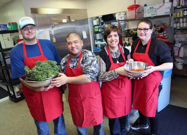 FILE PHOTO by  George Sakkestad</p><br /><br /><br /><br /><br /><br /> <p>Members of the Culinary Courier kitchen team include A.J. Miller, Kang Lee, Melissa Harris, and Stephanie Zitman. They're four of nine developmentally disabled staff members hired by Los Gatos resident Terri Shong, who launched her Culinary Courier catering business more than a decade ago.
