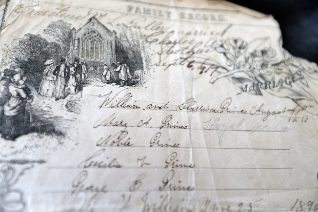 "A page from the William Grimes family bible that shows a record of his marriage is photographed on Tuesday, April 4, 2017, in Oakland, Calif. Regina Mason spent 15 years tracking down the story of one of her ancestors, William Grimes, who was a fugitive slave that traveled along the Underground Railroad to freedom and authored the first fugitive slave narrative in U.S. history. A film about her search ""Gina's Journey, the search for William Grimes"" will be shown at the Oakland Film Festival Thursday, April 6, 2017. (Aric Crabb/Bay Area News Group)"