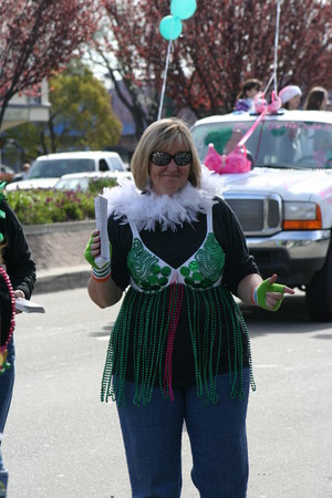 Barb Roudebush, an organizer of the Bras for a Cause walk in Pleasanton, shows off her outfit for the fundraising walk.