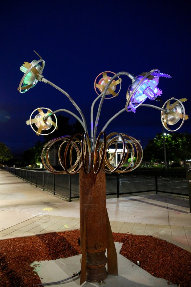 """The mixed-metal sculpture """"Space Glow,"""" by artists Patricia Vader and JoeBologna is now on display at the corner of Fremont Boulevard and Capitol Avenue. It is the second piece of public art selected for display at that location as a part of the city's rotational public art program. (Photo by Joseph Geha/The Argus)"""