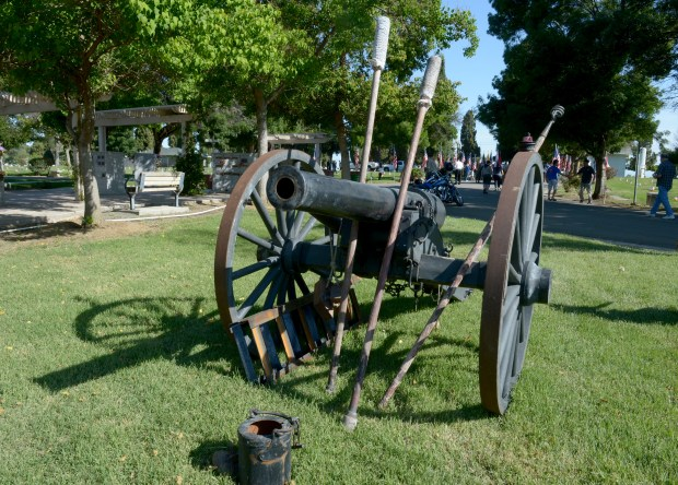 An 1861 Parrott replica is one of many Civil War cannons on display during a Memorial Day ceremony held at Union Cemetery in Brentwood, Calif., on Monday, May. 29, 2017. (Susan Tripp Pollard/Bay Area News Group)