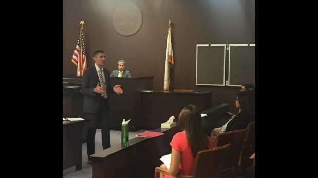UC Davis law student Nick Chase speaks to fellow students during a mocktrial Thursday May 25, 2017, at the Walnut Creek Superior Courthouse.