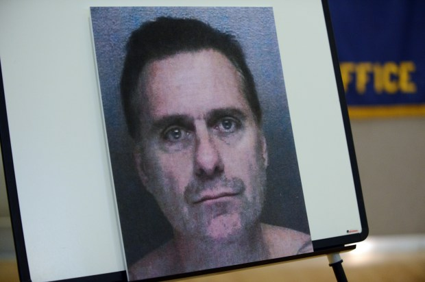 A photo of William Devincenzi, 50, who was arrested for the killing of Stephen Rudiger, was on display during a press conference held at Alameda County Sheriff's Office of Homeland Security and Emergency Services in Dublin, Calif., on Tuesday, Nov. 26, 2013. (Dan Honda/Bay Area News Group Archives)