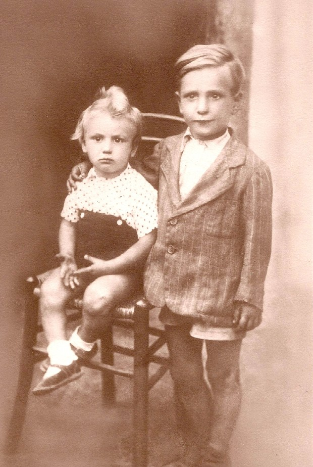 This sepia photo is of Cino Chegia and his little brother, Alberto Chegia in 1940.