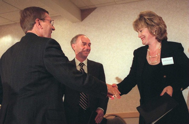 Congressman Bill Baker, left shakes hands with Ellen Tauscher, right, as candidate John Pace, center, looks on after a debate at the Sheraton Hotel in Concord in 1996. (Dan Rosenstrauch/Bay Area News Group Archives)