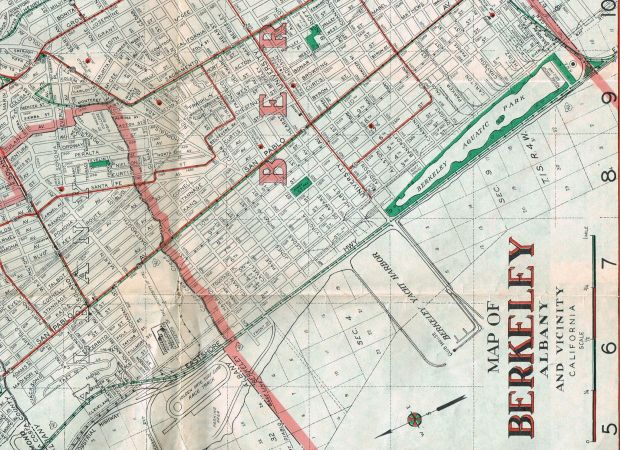 A war era map shows the route of the Shipyard Railway through Berkeley and Codornices Village.