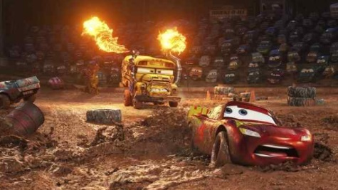 """This image released by Disney shows Lightning McQueen, voiced by Owen Wilson, In """"Cars 3,"""" foreground, in a scene from """"Cars 3."""" (Disney-Pixar via AP)"""