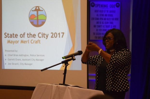 "Pittsburg Mayor Merl Craft delivers a portion of the 2017 ""State of the City"" presentation June 22."