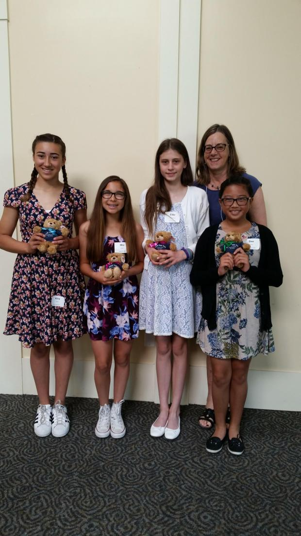 Pleasant Hill-Martinez AAUW Tech Trek Schoarship recipients include, from left, Kira Funk (Sequoia Middle School); Mia Puljiz (Martinez Junior High); Ellie Schichnes (Pleasant Hill Middle School) and Dee Lara (Martinez Junior High), shown here with Tech Trek Chairperson Diane Coventry (rear). Not pictured: Jasmine Kimbrough (Valley View Middle School) and Jailynn Lozano (Martinez Junior High).