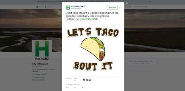 This meme was tweeted out Tuesday morning ahead of the same night's Hayward City Council meeting