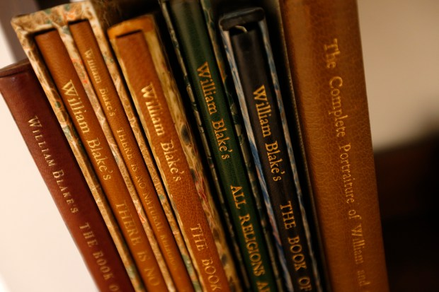 "A collection of books is photographed at The William Blake Gallery on Wednesday, May 24, 2017, in San Francisco, Calif. The gallery is currently showing an exhibition of reproduction plates ""William Blake In Color"". (Aric Crabb/Bay Area News Group)"