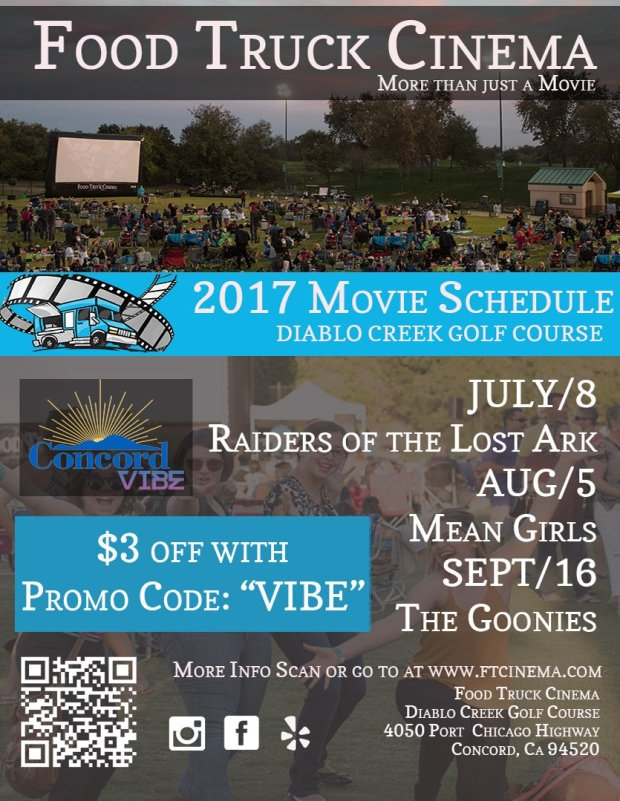 Food Truck Cinema is bringing movies, food, live music and trivia games to Diablo Creek Golf Course in Concord this summer.