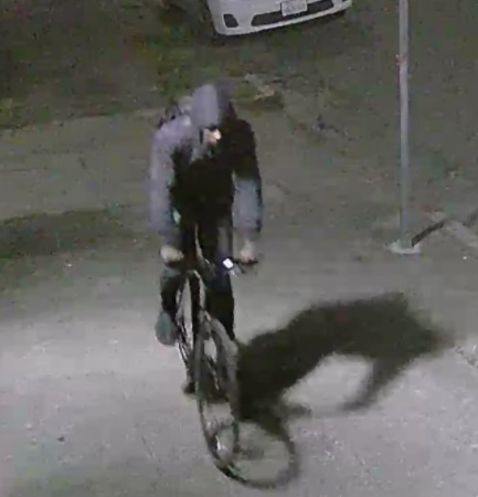 A surveillance photo of a person of interest in three fires set in San Francisco. ATF is offering up to $110,000 for information leading to the arrest of the person(s) responsible. (Courtesy of ATF)