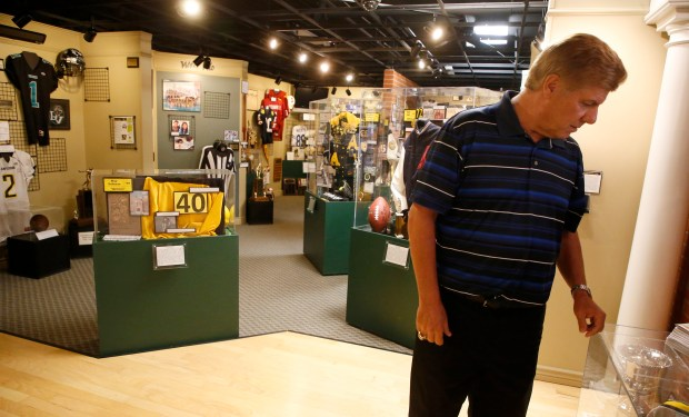 Eddie Beaudin co-founder of Antioch Sports Legends is photographed in the museum on Thursday, Aug. 24, 2017, in Antioch, Calif. The museum will induct 15 new members and one new championship team for it's class of 2017 in October. (Aric Crabb/Bay Area News Group)