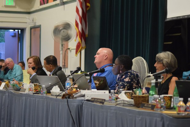 From left, Contra Costa Board of Education members Vikke Chavez, Jeff Belle, Mike maxwell, Fatima Alleyne and Christine Deane, Aug. 29, 2017.