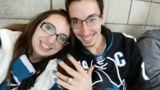 Jaime and Andrea Campbell got engaged at the January 16, 2016 San Jose Sharks game. (Photo courtesy of Jaime and Andrea Campbell)