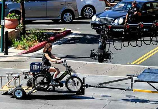 Actress Hailee Steinfeld sits on a moped as she film a scene for 'Bumblebee,' a spinoff of the Transformers movies, in downtown Vallejo on Tuesday. (Chris Riley — Times-Herald)