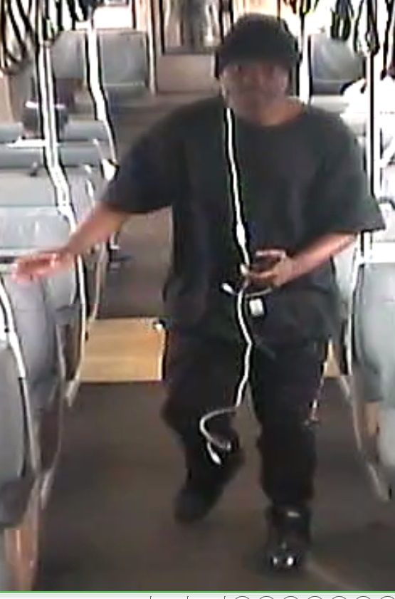 BART police shared this image Tuesday, September 12, 2017 taken from surveillance video footage of a man sought in connection with a September 11 armed robbery aboard a Fremont-bound train between the Hayward and South Hayward stations.