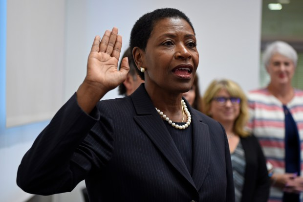 Diana Becton is sworn by Contra Costa County Supervisor Federal Glover as the new District Attorney for Contra Costa County in Martinez, Calif. on Monday, Sept. 18, 2017. (Jose Carlos Fajardo/Bay Area News Group)