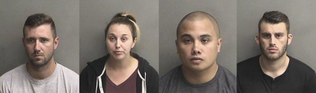 Justin Linn, Sarah Krause, Stephen Sarcos, and Erik McDermott were arrested Aug. 31, 2017, in connection with inmate abuse that occurred at Santa Rita Jail, where they served as Alameda County Sheriff's deputies.